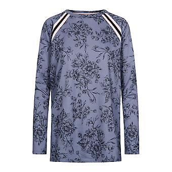 Rösch vara glad! 1202123-11999 Kvinnor's Smokey Blue Print Pyjama Top