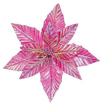 27cm Pink Clip-On Poinsettia Christmas Decoration
