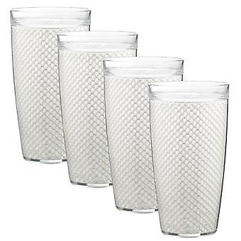 Fishnet 22 Oz Blanc Doublewall Drinkware Set/4