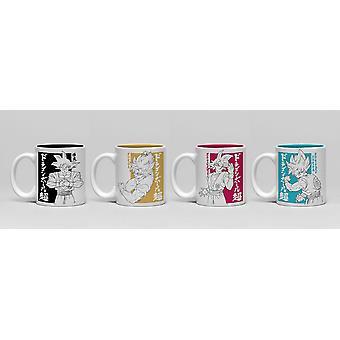Dragonball Super Goku Espressotassen-Set weiß, bedruckt, 4er-Set, 100 % Keramik, in Geschenkverpackung.