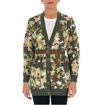 Elisabetta Franchi Mk66m06e2w73 Frauen's Camouflage Wolle Strickjacke