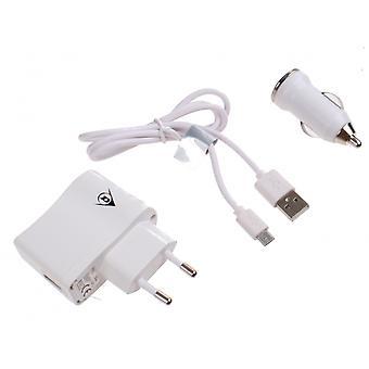 autolader micro-USB 12/24-230 Volt 1 Ampère wit
