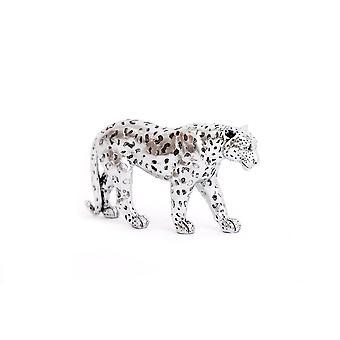 Zilver geschilderd glitter effect luipaard groot ornament