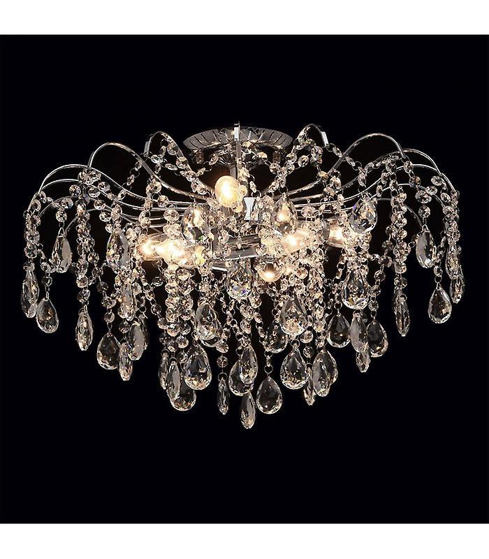 Crystal Chrome Ceiling Light 6 Bulbs 38 Cm