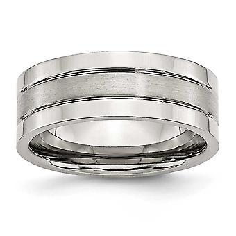 Stainless Steel Grooved Graveeerbaar gepolijst en satijn Flat 8mm Satijn gepolijste band Ring Sieraden Geschenken voor vrouwen - Ring S