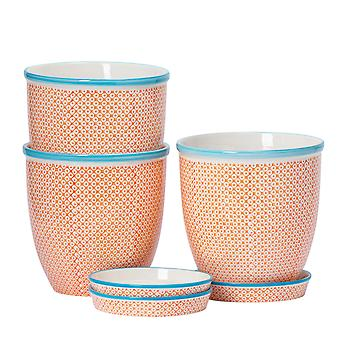 Nicola Spring 3pc Hand-Printed Plant Pot with Saucer Set - Porcelain Flower Pots and Drip Tray - Orange - 20 x 20.5cm
