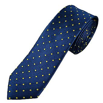 Ties Planet Gold Label Royal Blue & Yellow Polka Dot Men's Silk Skinny Tie