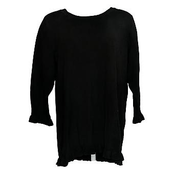 Isaac Mizrahi Live! Women's Plus Maglione 3/4 Slv Ruffle Hem Black A351083