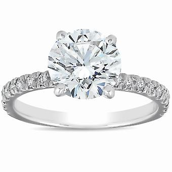 2 1/3 Ct Diamond Solitaire Engagement Ring 14k White French Pave Set