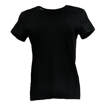 Isaac Mizrahi Live! Women's Top (XXS) Pima Cotton T-Shirt Black A374886