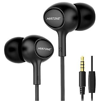 Miatone Earphones with Microphone - 3.5mm AUX Earphones Wired Earphones Earphone Black