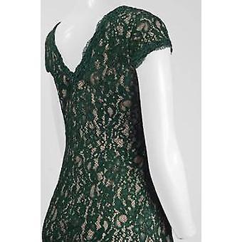 V-neck Short Sleeve Zipper Back Floral Lace Dress