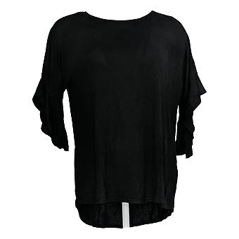 DG2 par Diane Gilman Women's Top Black Tunic Rayon 3/4 Sleeve 689-749