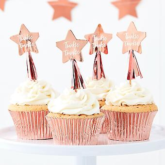Baby Shower Cupcake Toppers | Rose Gold Girl Boy Neutral Cake Decorations x12