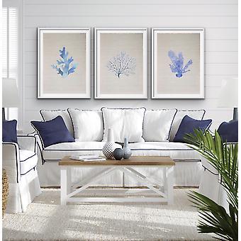 Hamptons Blue Coral on Linen Seaside Wall Art Prints - Three Piece Art Print