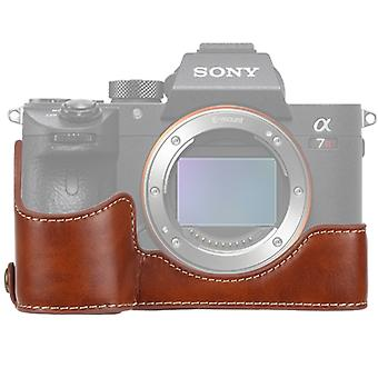 1/4 inch Thread PU Leather Camera Half Case Base  for Sony ILCE-A9 / A9 / A7RIII(Brown)