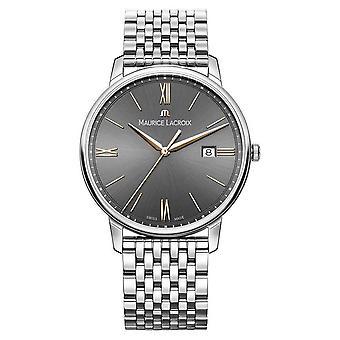 Eliros heren | Maurice Lacroix Roestvrijstalen armband | Zwart/grijs wijzerplaat EL1118-SS002-311-2 Horloge