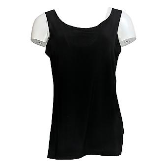 Atitudes Por Renee Women's Top Lace Tunic Jersey Malhação & Tank Set Preto A267639