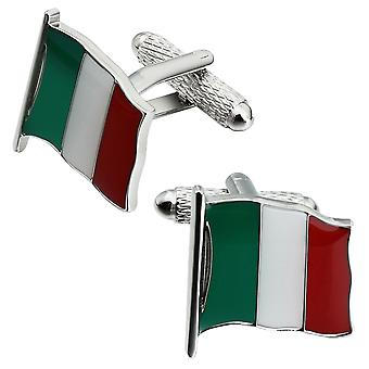 Italian Flag Cufflinks by Onyx Art - Gift Boxed - Italy Tricolore Cuff Links