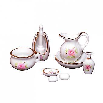 Dolls House White Floral Porcelain Bathroom Toiletry Accessoire Set 7pc Miniature