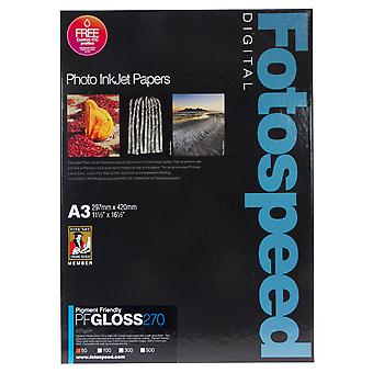 Fotospeed pigment friendly gloss - 50 hojas a3 de 270 gr/m²