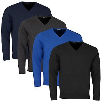 Glenmuir Mens 2021 Eden Cotton Lightweight Anti-Odour V-Neck Golf Sweater