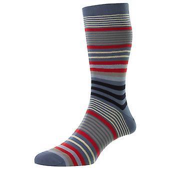 Pantherella Miyako Sea Island Stripe Socks - Smoke Grey/Red/Blue