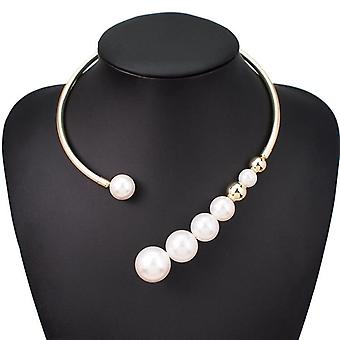 Metal Torques Simulated Pearl Choker Necklace