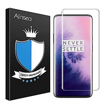 Alinsea Screen Protector for OnePlus 7 Pro/7T Pro Tempered Glass [Full Adhesive] [Fingerprint Sensor Compatible][Lifetime Replacement Warranty][3D Glass] Screen Protector for OnePlus 7 Pro/7T Pro