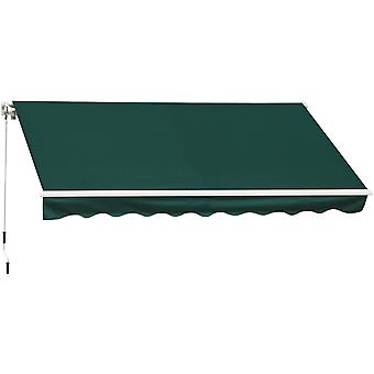 Outsunny 3.5 x 2.5 m Garden Patio Manual Awning Canopy Sun Shade Shelter with Winding Handle - Green
