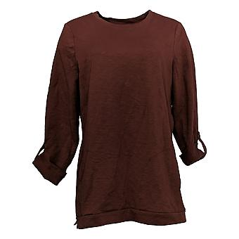 Denim & Co. Women's Top Active French Terry 3/4-Sleeve Tunic Brown A383248