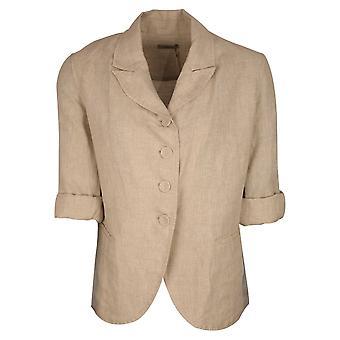 Crea Concept Beige Loose Fit Long Sleeve Button Up Blazer Jacket