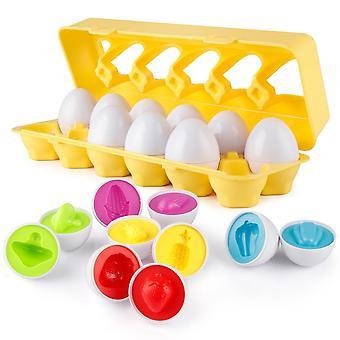 Huevos a juego 12 piezas Set Color & Shape & Food Recoginition Sorter Puzzle