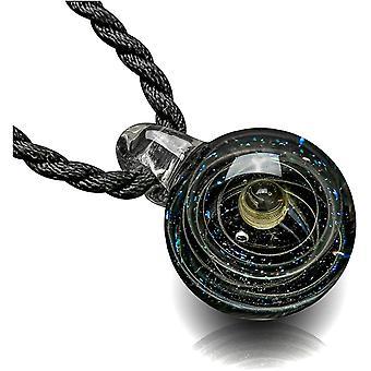 Wokex Lampwork Glas Anhnger Halskette 3D Glaskugel Universum Galaxy Nebel Planet Anhnger mit 2X