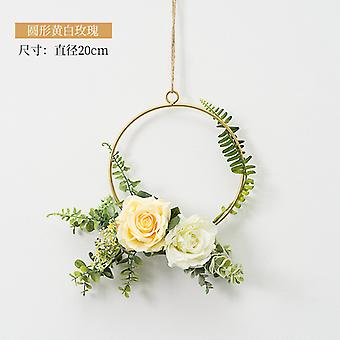 Round INS Wrought Iron Wreath Wall Hanging Simulation Flower Home Decoration Wedding Scene Aerial Pendant Garland