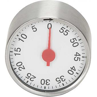 time switch clock magnetic 6.4 x 6.4 cm stainless steel silver/white
