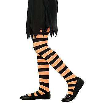 Collants rayés oranges et noirs enfant