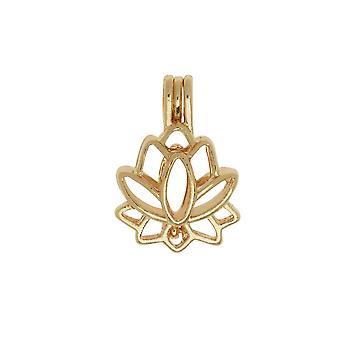 Aromatherapy Diffuser Locket Pendant, Lotus Flower 17.5x25mm, 1 Pendant, Gold Tone
