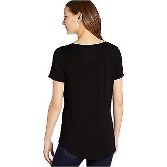 Essentials Women's Solid Short-Sleeve V-Neck Tuniek, Donkere Olijf, S