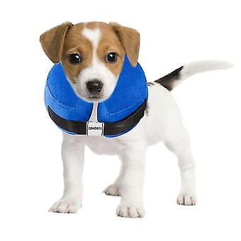 Protective inflatable collar for dogs and cats - soft pet recovery collar does not block vision e-collar blue