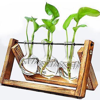 Terrarium Creative Hydroponic Plant Transparent Vase Wooden Frame vase decoratio Glass Tabletop