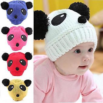 Színes Baby Girl Boy Kids Panda Hat Kötött Téli Meleg Horgolt Sapka