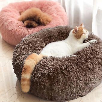 Khaki Runde Kunstpelz Flauschiges Haustierbett