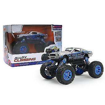 Mini children's alloy Off-road car, cartoon car model toy car(Blue)