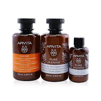 Apivita Holly Jolly Treats Set: Shine & Revitalizing Shampoo 250ml+ Pure Jasmine Shower Gel 250ml+ Pure Jasmine Body Milk 75ml 3pcs