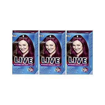 Schwarzkopf LIVE Voimakas väri ja nosto L76 Ultra Violet Pro Hiusten väri väri väri x 3