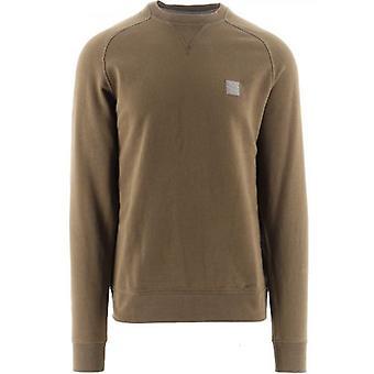 BOSS Dark Green Relaxed Fit Melange Logo Patch Westart 1 Sweatshirt