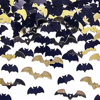 SISTE FÅ - 15g svart & gull Halloween flaggermus bord konfetti