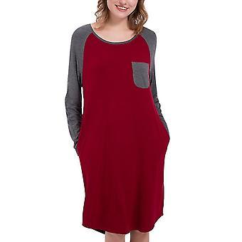 Damen Rundhals-Nähte Kontrastfarbe Nachthemd (S) (Rot)