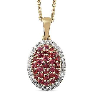 Roter Saphir, Zirkon Cluster Halskette für Damen Vergoldet Silber 20 '' 1.29ct